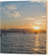 Sunset Sailboats Wood Print