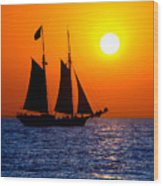 Sunset Sailing In Key West Florida Wood Print