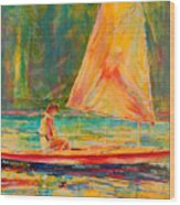 Sunset Sailor 2 Wood Print