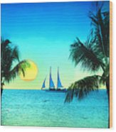 Sunset Sailor Wood Print by Bill Cannon