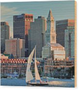 Sunset Sails On Boston Harbor Wood Print