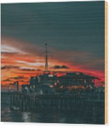 Sunset Santa Monica Pier Wood Print