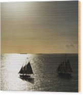 Sunset Schooners Wood Print