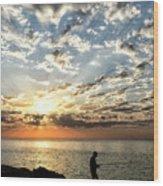 Sunset Sea Fishing  Wood Print