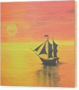 Sunrise Sea Ship Sss  Wood Print