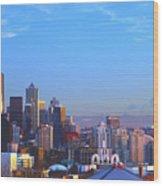 Sunset Seattle Wood Print