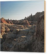 Sunset Shadows In The Badlands Wood Print