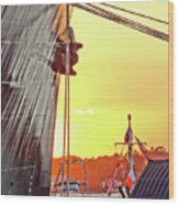 Sunset Ship Wood Print