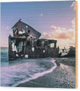 Sunset Shipwreck Wood Print