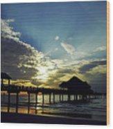 Sunset Silhouette Pier 60 Wood Print