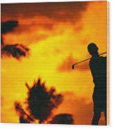 Sunset Silhouetted Golfer Wood Print