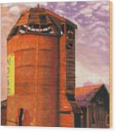 Sunset Silo Wood Print