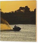 Sunset Ski Wood Print