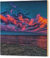 Sunset Sky At East Point Wood Print