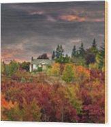 Sunset Sky Over Farm House In Rural Oregon Wood Print