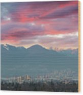 Sunset Sky Over Port Of Vancouver Bc Wood Print