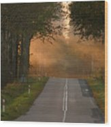 Sunset Somewhere On The Road Wood Print