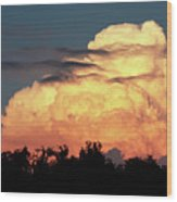 Sunset Storm Clouds Over The Marsh Wood Print