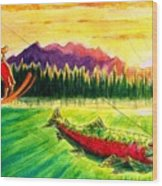 Skiing Into The Sunset Wood Print