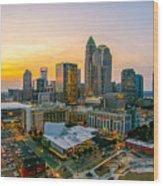 Sunset Sunrise Over Charlotte Skyline North Carolina Wood Print
