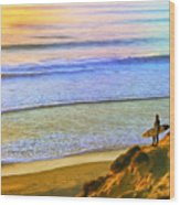 Sunset Surf At La Jolla Wood Print