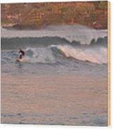 Sunset Surfing Wood Print