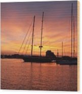 Sunset Tall Ships Wood Print