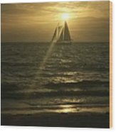 Sunset Through Sailboat Wood Print
