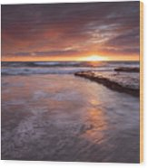 Sunset Tides Wood Print