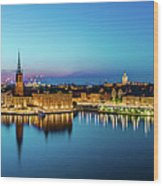 Sunset To Blue Hour Panorama Over Gamla Stan In Stockholm Wood Print