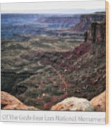 Sunset Tour Valley Of The Gods Utah Text 04 Wood Print
