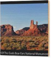 Sunset Tour Valley Of The Gods Utah Text 09 Black Wood Print