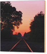 Sunset Track Wood Print