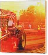 Sunset Tractor Pull Wood Print