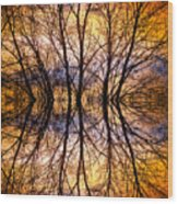 Sunset Tree Silhouette Abstract 1 Wood Print