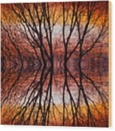 Sunset Tree Silhouette Abstract 2 Wood Print