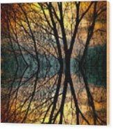 Sunset Tree Silhouette Abstract 3 Wood Print