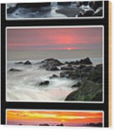 Sunset Triptych Wood Print