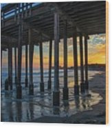 Sunset Under The Ventura Pier Wood Print