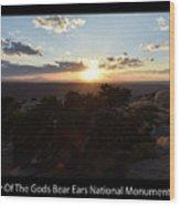 Sunset Valley Of The Gods Utah 01 Text Black Wood Print