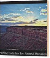 Sunset Valley Of The Gods Utah 03 Text Black Wood Print