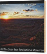 Sunset Valley Of The Gods Utah 11 Text Black Wood Print