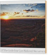 Sunset Valley Of The Gods Utah 11 Text Wood Print