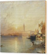 Sunset Venice Wood Print