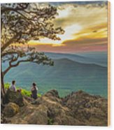 Sunset View At Ravens Roost Panorama Wood Print