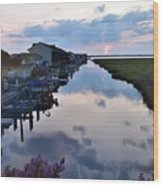 Sunset View At The Art League Of Ocean City - Maryland Wood Print