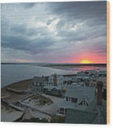 Sunset View From Sandy Neck Light Wood Print