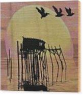 Sunset Wall Mural In Cedar Key, Fl Wood Print