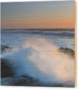 Sunset Wave Explosion Wood Print