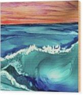 Sunset Waves Wood Print